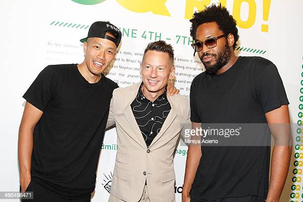 DaoYi Chow Jim Nelson and Maxwell Osborne attend the GQ and Ben Watts Photo Exhibition celebrating the June issue and The World Cup at Milk Gallery...