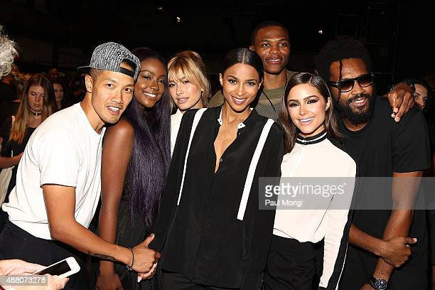 DaoYi Chow Justine Skye Hailey Baldwin Ciara Russell Westbrook Olivia Culpo and Maxwell Osborne pose for a photo backstage at Public School Spring...