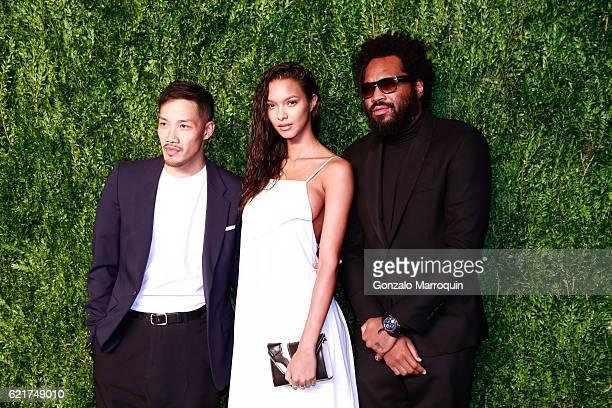 Daoyi ChowLais Ribeiro and Maxwell Osborne at the 2016 CFDA/Vogue Fashion Fund Awards at Spring Studios on November 7 2016 in New York City