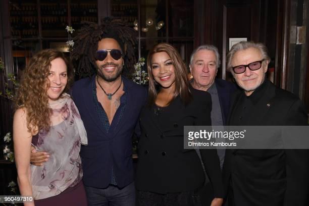 Daphna Kastner Lenny Kravitz Grace Hightower Robert De Niro and Harvey Keitel attend the CHANEL Tribeca Film Festival Artists Dinner at Balthazar on...