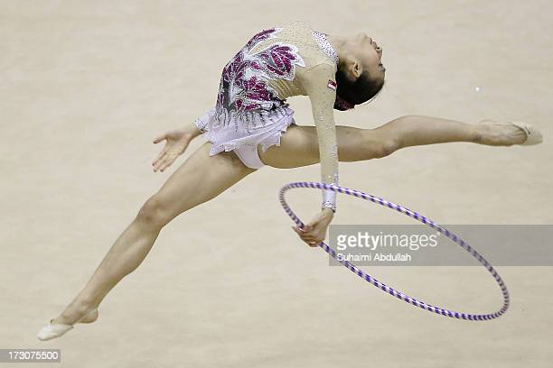 Daphne Chia of Singapore Gymnastics performs in the hoop discipline in the International Senior Category during day one of the Singapore Open...