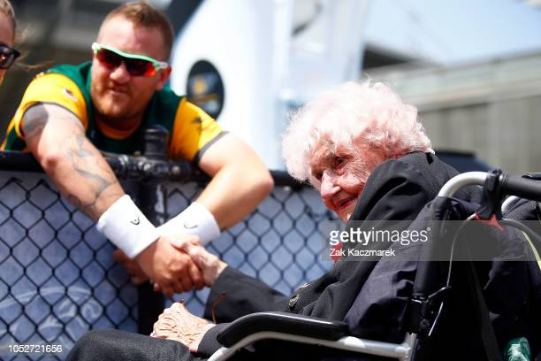 Daphne Dunne meets with Stewart Sherman during day three of the Invictus Games Sydney 2018 at on October 22 2018 in Sydney Australia