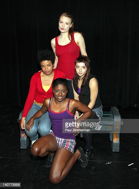 Daphne Gabriel Clara Gabrielle Angelina Prendergast and Jameelah Nuriddin attend the 'Innocent Flesh' cast photo call at the Actors Temple Theatre on...