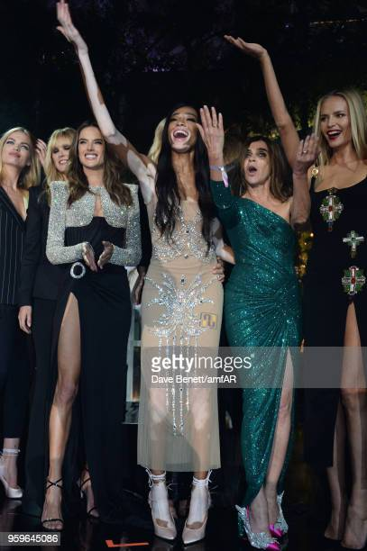 Daphne Groeneveld, Alessandra Ambrosio, Winnie Harlow, Carine Roitfeld and Natasha Poly attend the amfAR Gala Cannes 2018 at Hotel du Cap-Eden-Roc on...