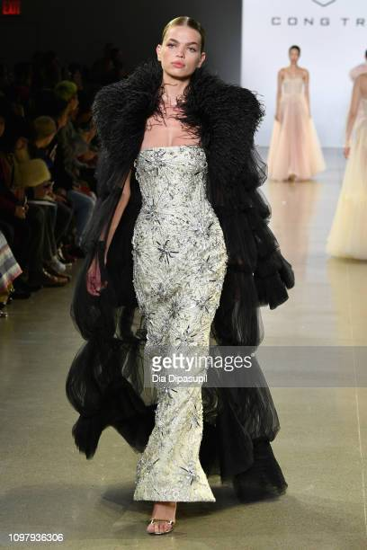 Daphne Groeneveld walks the runway for the Cong Tri fashion show during New York Fashion Week The Shows at Gallery II at Spring Studios on February...