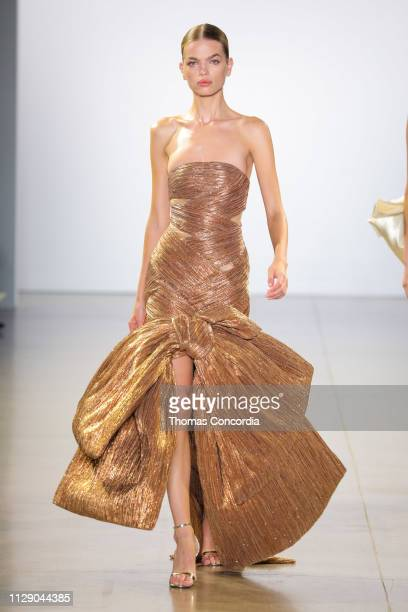 Daphne Groeneveld walks the runway wearing Cong Tri Fall 2019 at Gallery II at Spring Studios on February 11 2019 in New York City