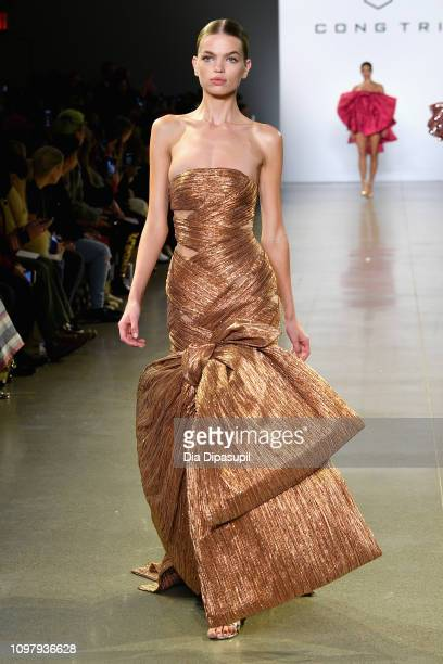 Daphne Groeneveldl walks the runway for the Cong Tri fashion show during New York Fashion Week The Shows at Gallery II at Spring Studios on February...