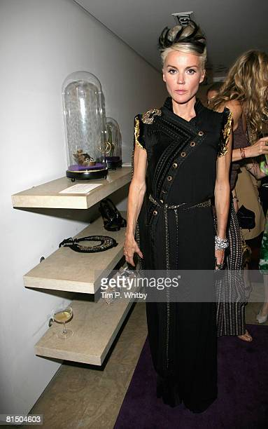 Daphne Guiness poses during the 'My Most Treasured' exhibition at Browns during the Private View on June 9 2008 in London England The exhibition...