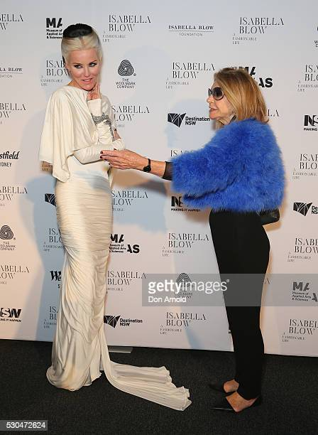 Daphne Guinness and Carla Zampatti arrive ahead of the VIP launch of Daphne Isabella Blow A Fashionable Life at Powerhouse Museum on May 11 2016 in...