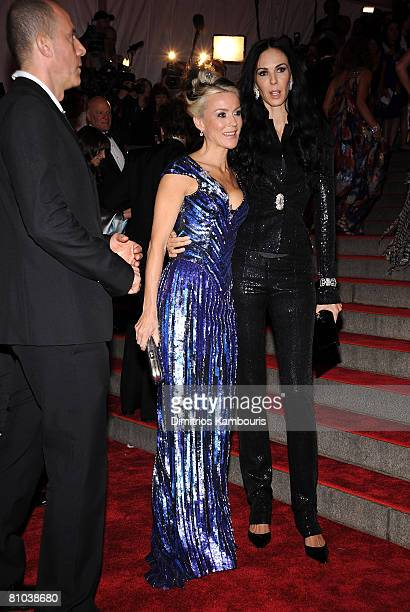 Daphne Guinness and designer L'Wren Scott attend the Metropolitan Museum of Art Costume Institute Gala Superheroes Fashion And Fantasy at the...