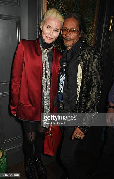 Daphne Guinness and Leon Hendrix attend an evening celebrating 50 years to the day of Jimi Hendrix's first performance in London featuring a special...