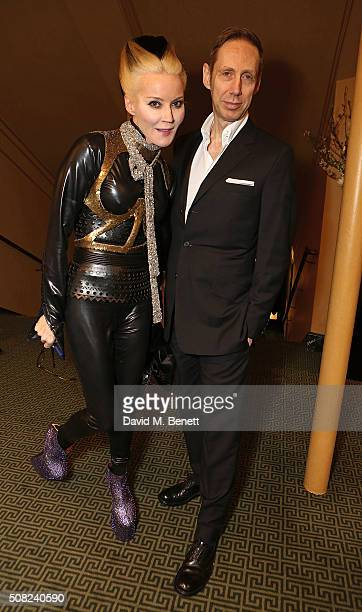 Daphne Guinness and Nick Knight attend the SHOWStudio Fashion Film Awards Ceremony at Regent Street Cinema on February 3 2016 in London England