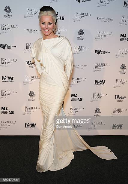 Daphne Guinness arrives ahead of the VIP launch of Daphne Isabella Blow A Fashionable Life at Powerhouse Museum on May 11 2016 in Sydney Australia
