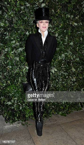 Daphne Guinness attends an evening to celebrate The Global Fund hosted by the Earl and Countess of Mornington Anna Wintour Livia Firth and Natalie...