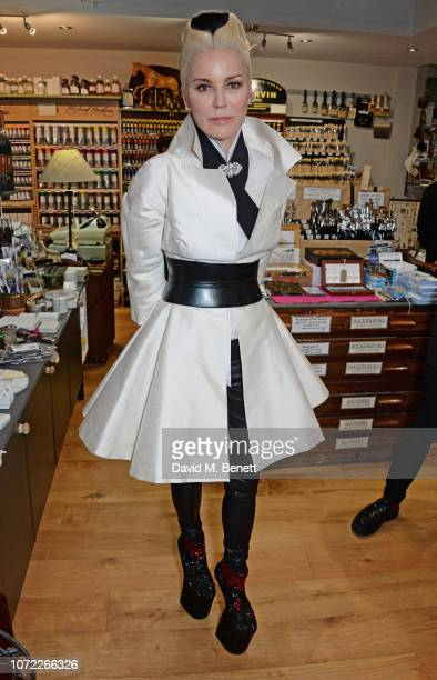 Daphne Guinness attends Manolo Blahnik's 'The Twelve Shoes Of Christmas' presented by Green and Stone on December 12 2018 in London England