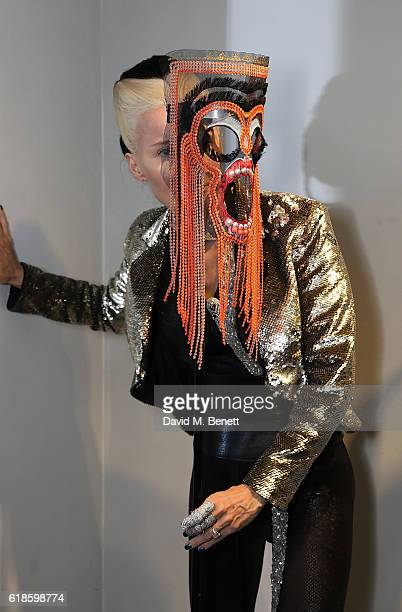 Daphne Guinness attends the closing party of artist Ben Ashton's exhibition 'The King Is Dead Long Live The King' at The Cob Gallery on October 27...