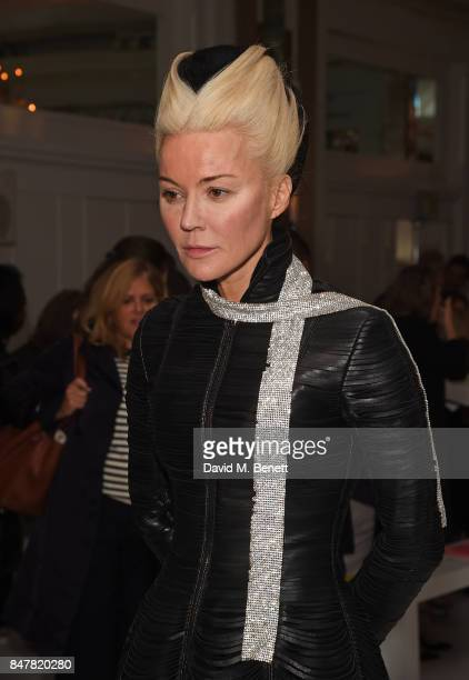 Daphne Guinness attends the Jasper Conran SS18 catwalk show during London Fashion Week September 2017 on September 16 2017 in London United Kingdom