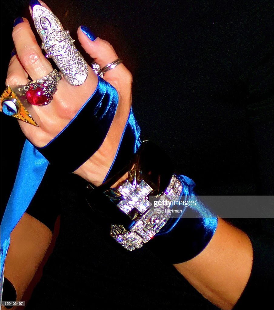 Daphne Guinness, bejeweled and beribboned (hand detail), Fashion Institute of Technology, New York, New York, 2011.