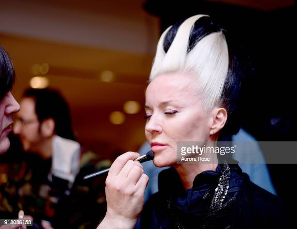 Daphne Guinness getting made up Backstage at The Blonds Runway show at Spring Studios on February 13 2018 in New York City