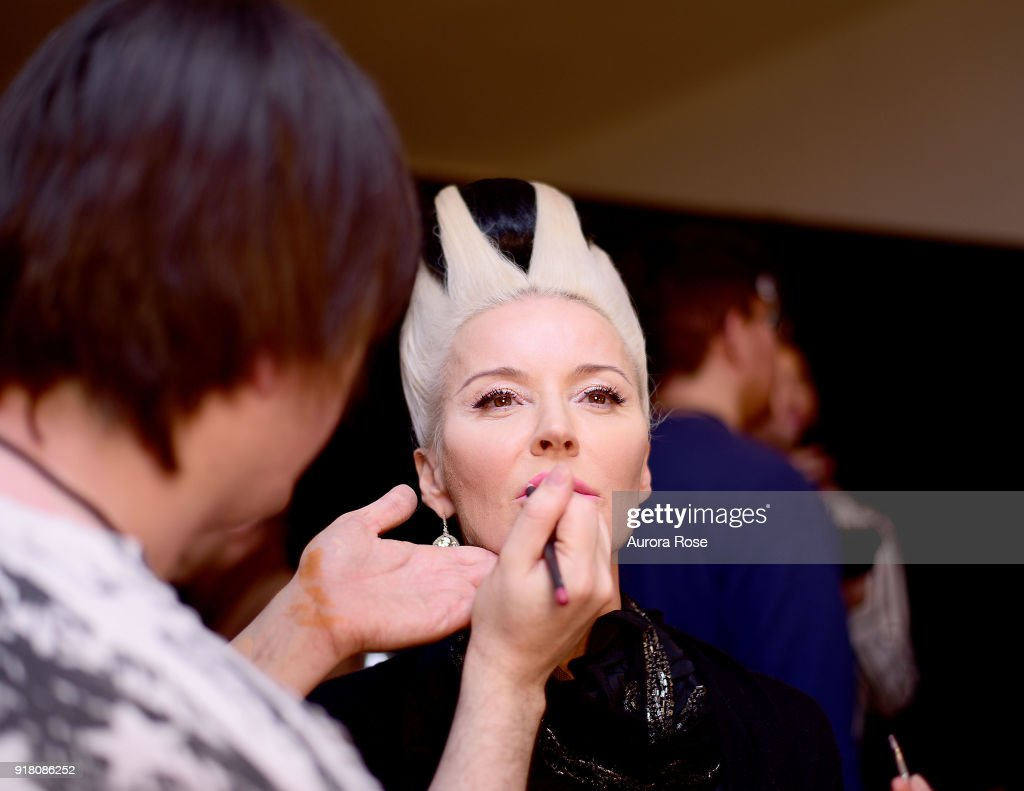Daphne Guinness getting made up Backstage at The Blonds Runway show at Spring Studios on February 13, 2018 in New York City.