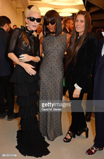 Daphne Guinness Naomi Campbell and Elizabeth Saltzman attend the opening of Maison Alaia on New Bond Street on April 26 2018 in London England