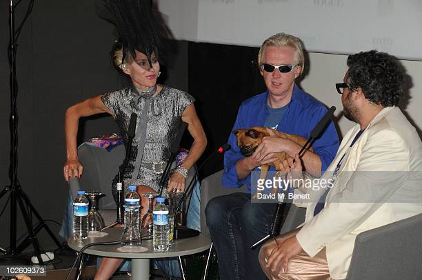 Daphne Guinness Philip Treacy and Haluk Akakce attend the Istancool arts festival by Liberatum Saturday lectures at the Istanbul Modern Art Museum as...