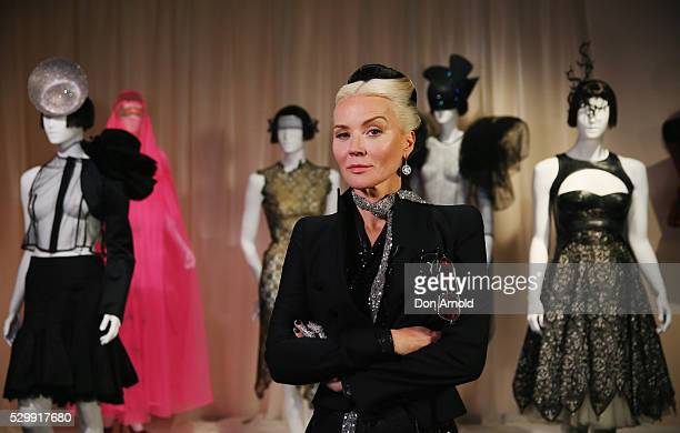 Daphne Guinness poses alongside designs during the launch of Daphne Isabella Blow A Fashionable Life at Powerhouse Museum on May 10 2016 in Sydney...