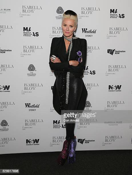 Daphne Guinness poses during the launch of Daphne Isabella Blow A Fashionable Life at Powerhouse Museum on May 10 2016 in Sydney Australia