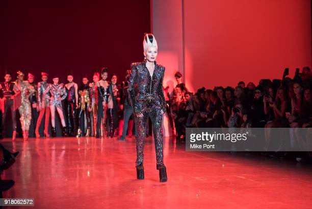 Daphne Guinness walks the runway at The Blonds fashion show during New York Fashion Week The Shows at Spring Studios on February 13 2018 in New York...