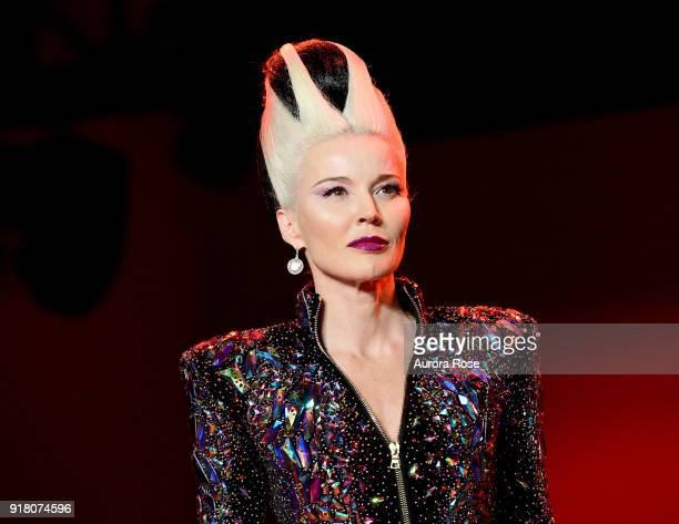 Daphne Guinness walks the Runway for The Blonds at Spring Studios on February 13 2018 in New York City