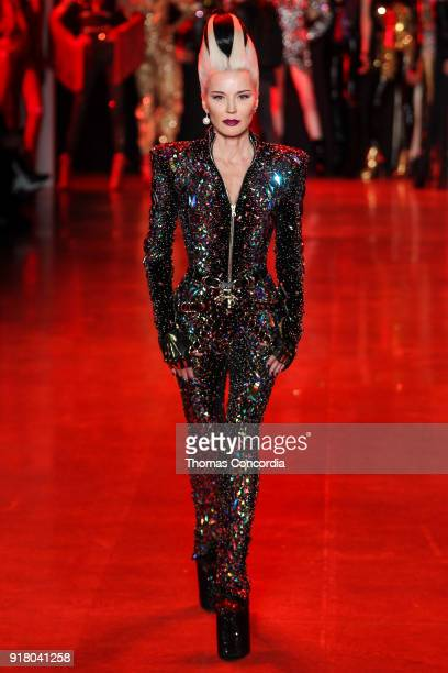 Daphne Guinness walks the runway wearing The Blonds Fall 2018 Collection with makeup by Kabuki Magic and the MAC Pro team hair by Kien Hoang and...
