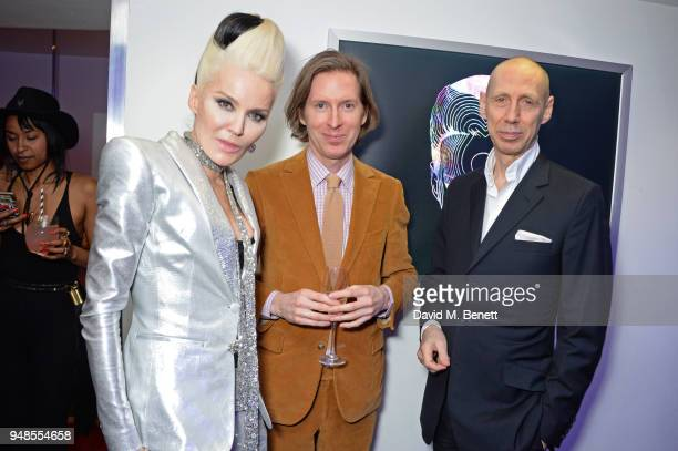 Daphne Guinness Wes Anderson and Nick Knight attend the launch of Daphne Guinness' new album 'Daphne The Golden Chord It's A Riot' featuring a film...
