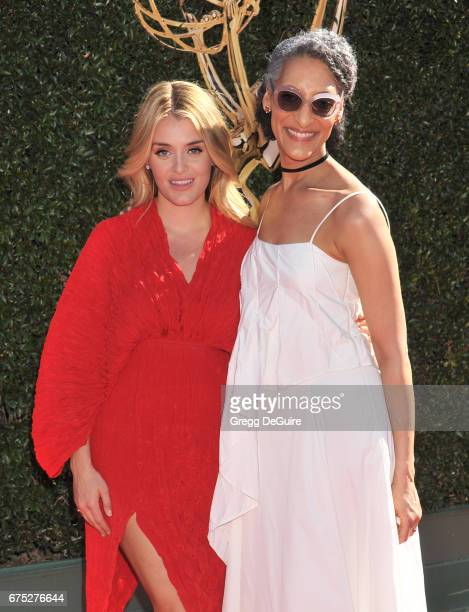 Daphne Oz and Carla Hall arrive at the 44th Annual Daytime Emmy Awards at Pasadena Civic Auditorium on April 30 2017 in Pasadena California