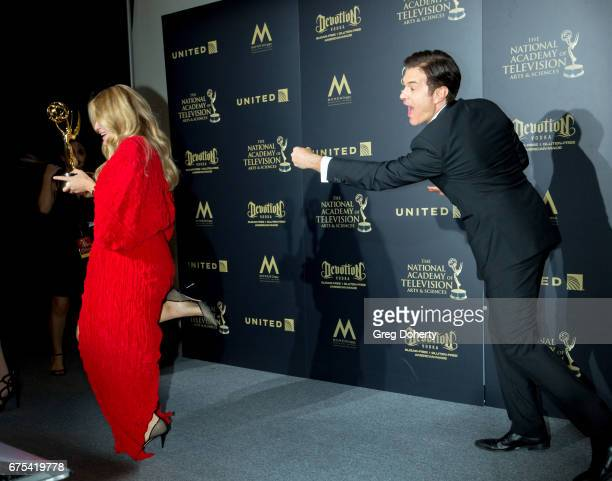 Daphne Oz and Dr Mehmet Oz display his Emmy Award at the 44th Annual Daytime Emmy Awards at Pasadena Civic Auditorium on April 30 2017 in Pasadena...