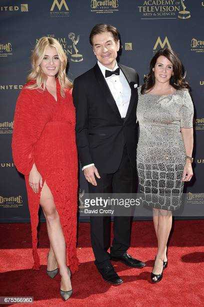 Daphne Oz Dr Mehmet Oz and Lisa Oz attend the 44th Annual Daytime Emmy Awards Arrivals at Pasadena Civic Auditorium on April 30 2017 in Pasadena...