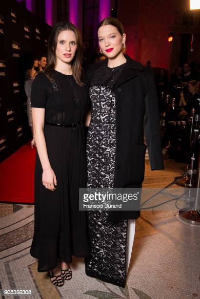 Daphne Patakia and Lea Seydoux attend the 'Cesar Revelations 2018' party at Le Petit Palais on January 15 2018 in Paris France