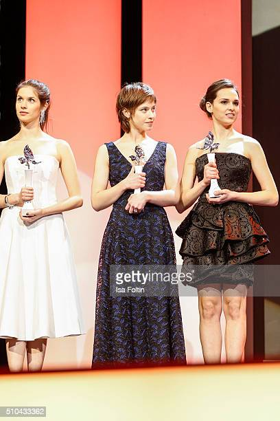 Daphne Patakia Lou de Laage and Sara Serraiocco during the presentation of the European Shooting Stars 2016 as part of the 66th Berlinale...