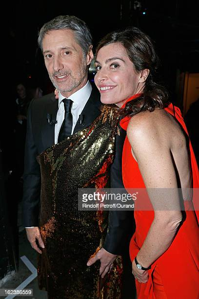 Daphne Roulier and companion Antoine de Caunes pose backstage during the Cesar Film Awards 2013 at Theatre du Chatelet on February 22 2013 in Paris...
