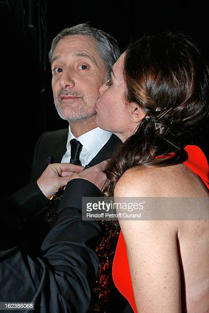 Daphne Roulier kisses companion Antoine de Caunes pose backstage during the Cesar Film Awards 2013 at Theatre du Chatelet on February 22 2013 in...