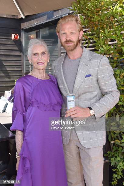 Daphne Selfe and Alistair Guy attend Daphne Selfe's 90th birthday hosted by Alistair Guy at Century Club on June 30 2018 in London England