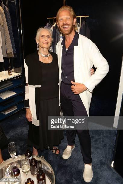 Daphne Selfe and Alistair Guy attend the La Perla x Alistair Guy 'The Ultimate Summer Wardrobe' party at La Perla Burlington Arcade on July 10 2018...
