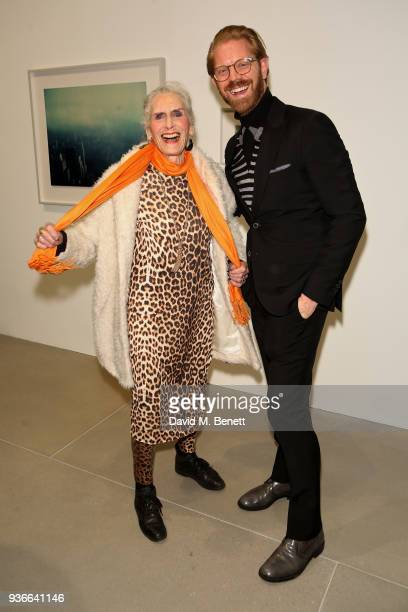 Daphne Selfe and Alistair Guy attend the private view of Wim Wenders ÔEarly Works: 1964-1984Õ at Blain|Southern on March 22, 2018 in London, United...