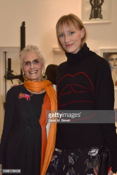 Daphne Selfe and Jade Parfitt attend a private view of '100 Women' an exhibition of fashion illustration to celebrate the centenary of women's...