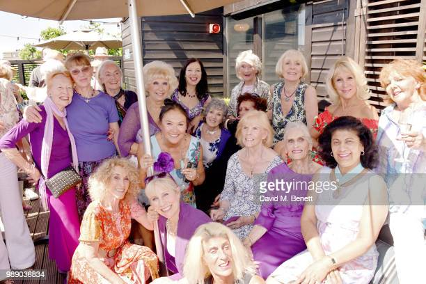 Daphne Selfe and members of the Lady Ratlings attend Daphne Selfe's 90th birthday hosted by Alistair Guy at Century Club on June 30 2018 in London...