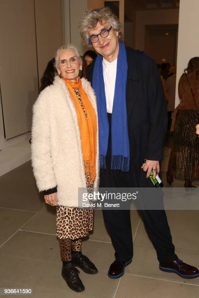 Daphne Selfe and Wim Wenders attend the private view of Wim Wenders ÔEarly Works 19641984Õ at Blain|Southern on March 22 2018 in London United Kingdom
