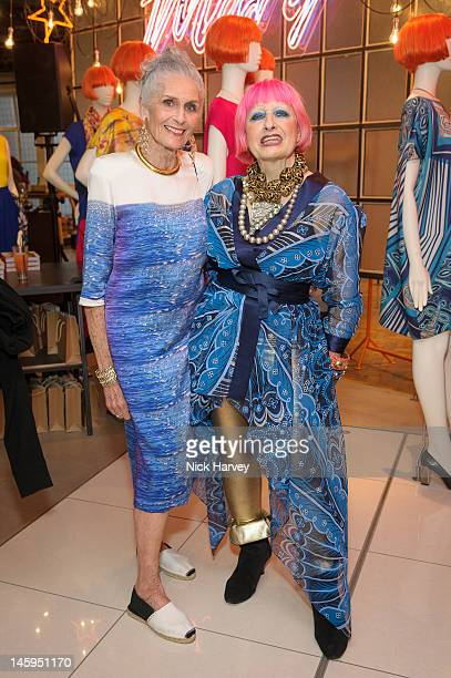 Daphne Selfe and Zandra Rhodes attend the launch of Advanced Style hosted by Mary Portas and Ari Seth Cohen at Mary's Shop House of Fraser Oxford...