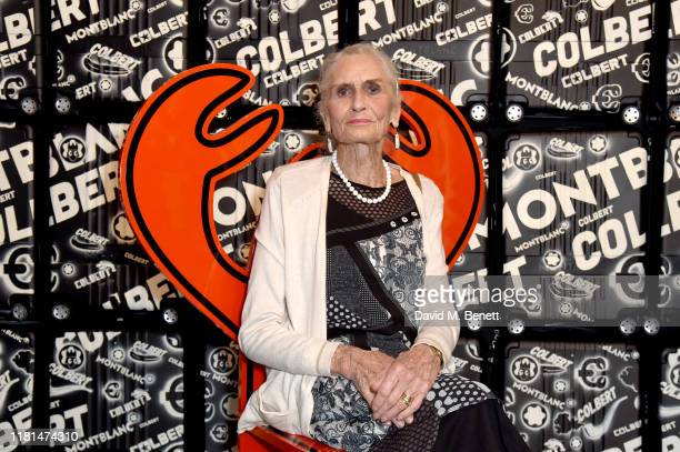 Daphne Selfe attends a celebration of In Transit, an immersive retail pop-up in East London with Montblanc and Philip Colbert in Spitalfields,...