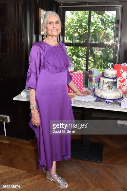 Daphne Selfe attends Daphne Selfe's 90th birthday hosted by Alistair Guy at Century Club on June 30, 2018 in London, England.