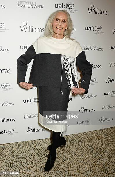 Daphne Selfe attends the first Fifty Plus Fashion Week hosted by JD Williams at Cafe Royal on February 18 2016 in London England