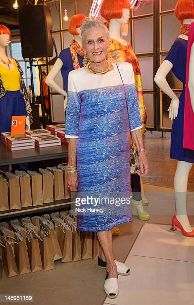 Daphne Selfe attends the launch of Advanced Style hosted by Mary Portas and Ari Seth Cohen at Mary's Shop House of Fraser Oxford Street on June 7...